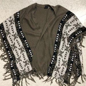 H&M Fringe Knit Poncho
